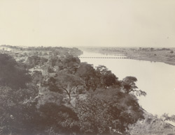 View from top of the Agency House showing the pontoon bridge over the Chambal, [Kota]